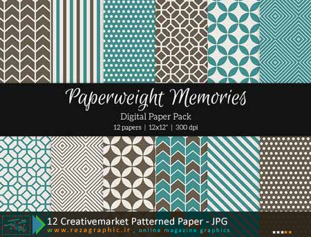 12 پترن طرح دار - Creativemarket Patterned Paper | رضاگرافیک
