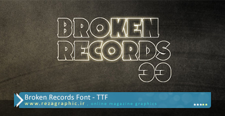 فونت انگلیسی - Broken Records Font | رضاگرافیک